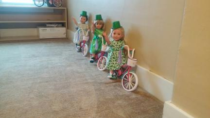 18 Inch Dolls x3 St. Pats Bicycles